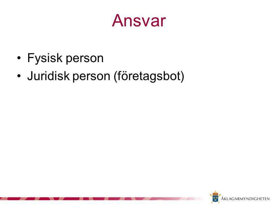 Ansvar Fysisk person Juridisk person (företagsbot)