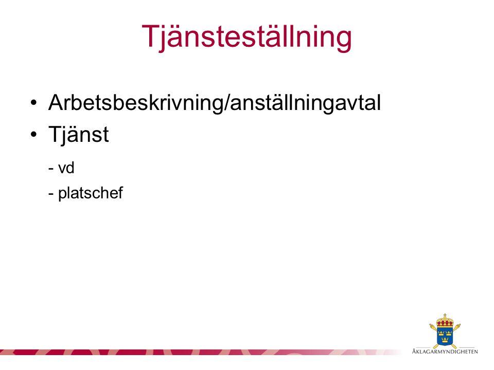 Tjänsteställning Arbetsbeskrivning/anställningavtal Tjänst - vd