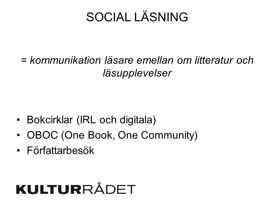 SOCIAL LÄSNING = kommunikation läsare emellan om litteratur och läsupplevelser