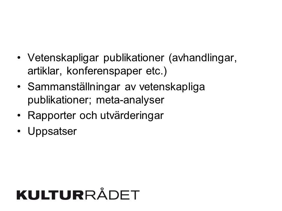 Vetenskapligar publikationer (avhandlingar, artiklar, konferenspaper etc.)