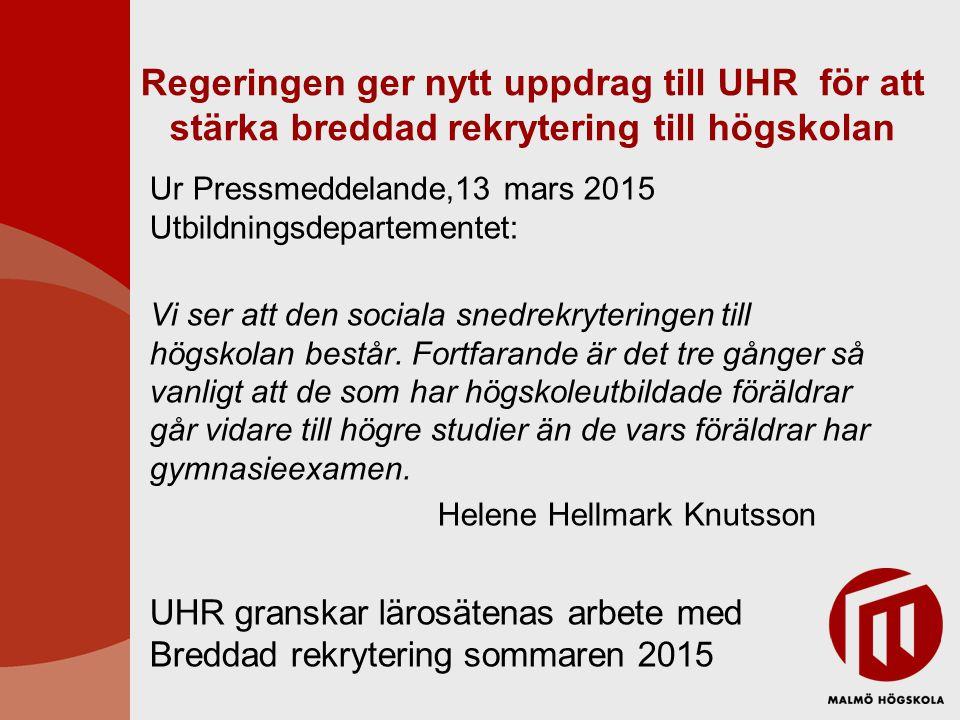 Regeringen ger nytt uppdrag till UHR för att stärka breddad rekrytering till högskolan