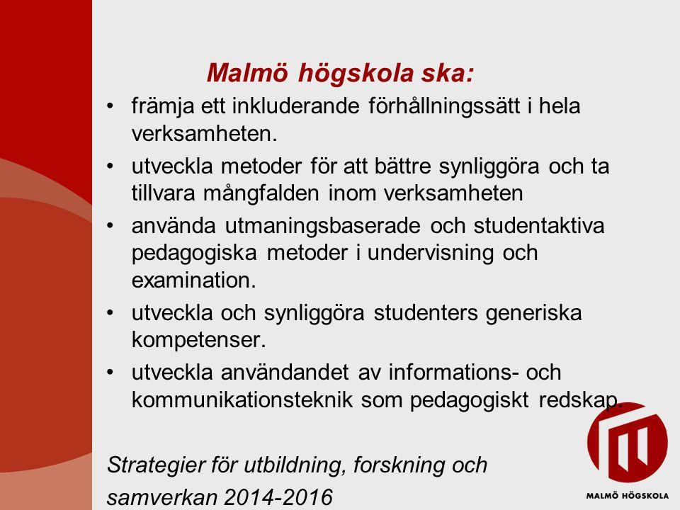 Malmö högskola ska: främja ett inkluderande förhållningssätt i hela verksamheten.