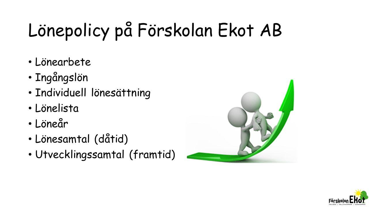 Lönepolicy på Förskolan Ekot AB