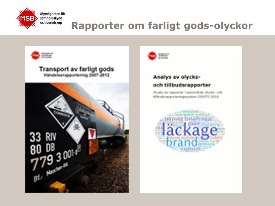 Rapporter om farligt gods-olyckor