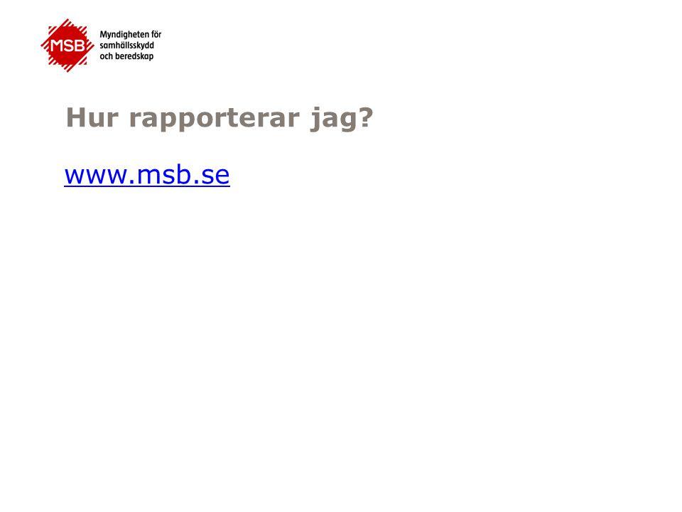 Hur rapporterar jag www.msb.se