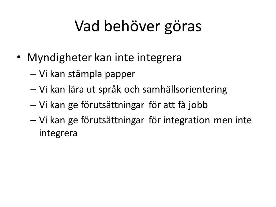 Vad behöver göras Myndigheter kan inte integrera Vi kan stämpla papper