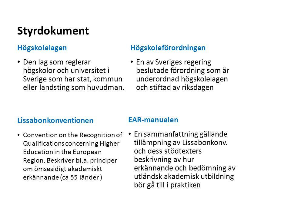 Styrdokument Högskolelagen