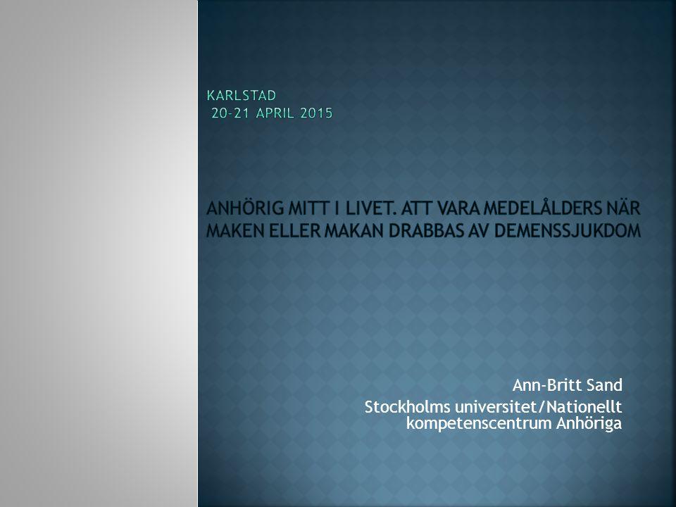 Stockholms universitet/Nationellt kompetenscentrum Anhöriga
