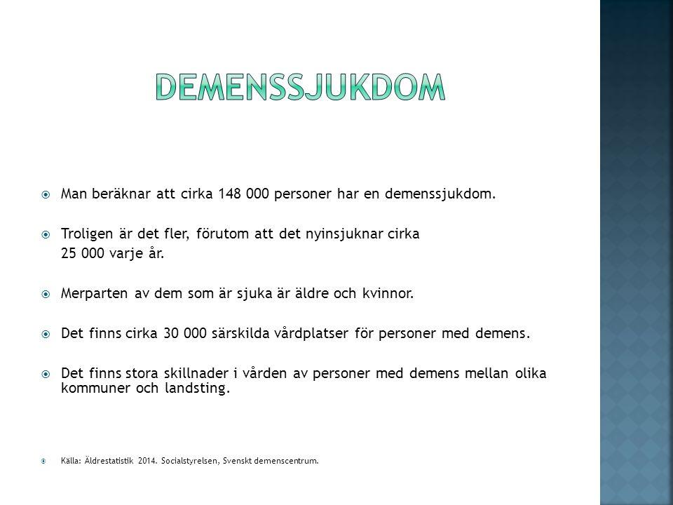 demenssjukdom Man beräknar att cirka 148 000 personer har en demenssjukdom. Troligen är det fler, förutom att det nyinsjuknar cirka.