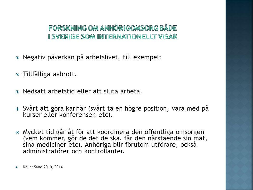 forskning om anhörigomsorg både i Sverige som internationellt visar