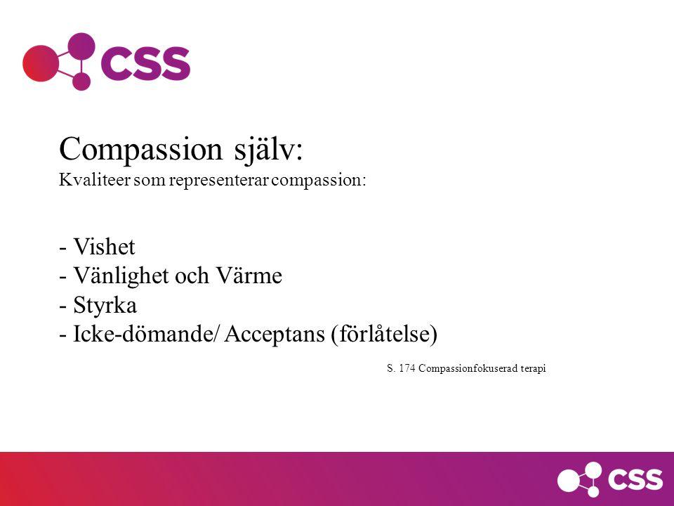 Compassion själv: - Vishet - Vänlighet och Värme - Styrka