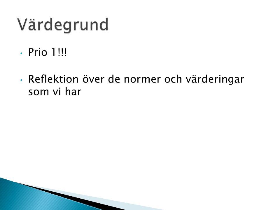 Värdegrund Prio 1!!! Reflektion över de normer och värderingar som vi har