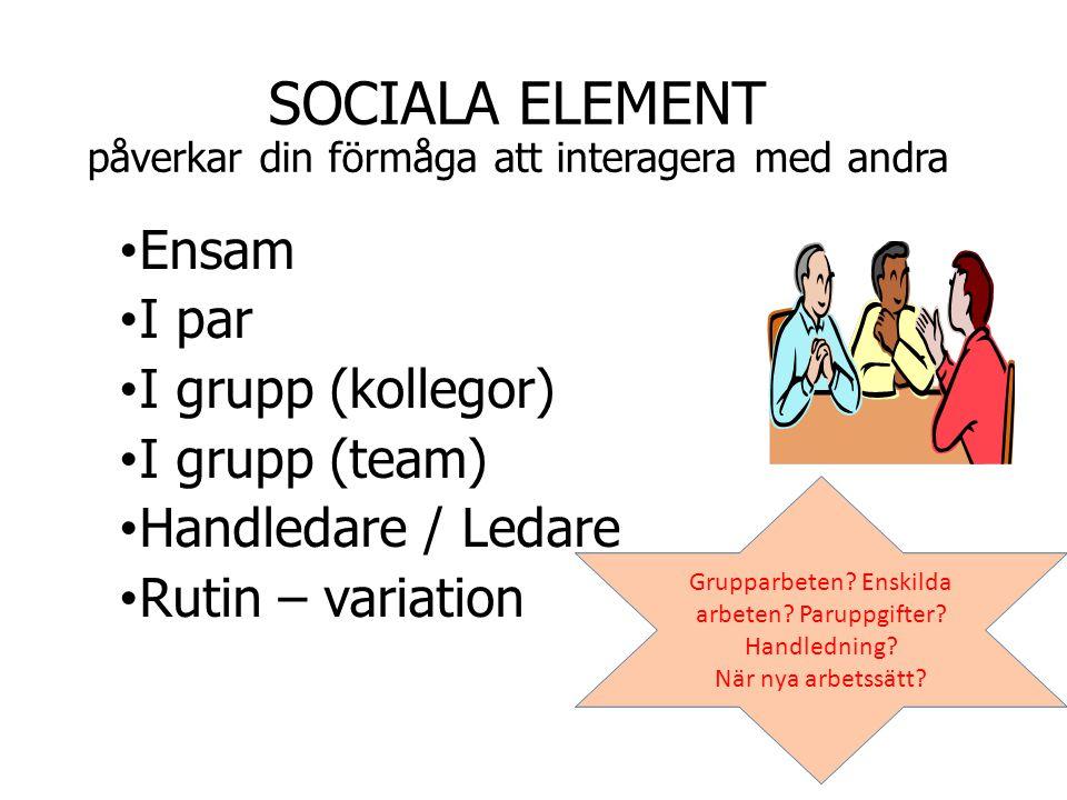 SOCIALA ELEMENT påverkar din förmåga att interagera med andra