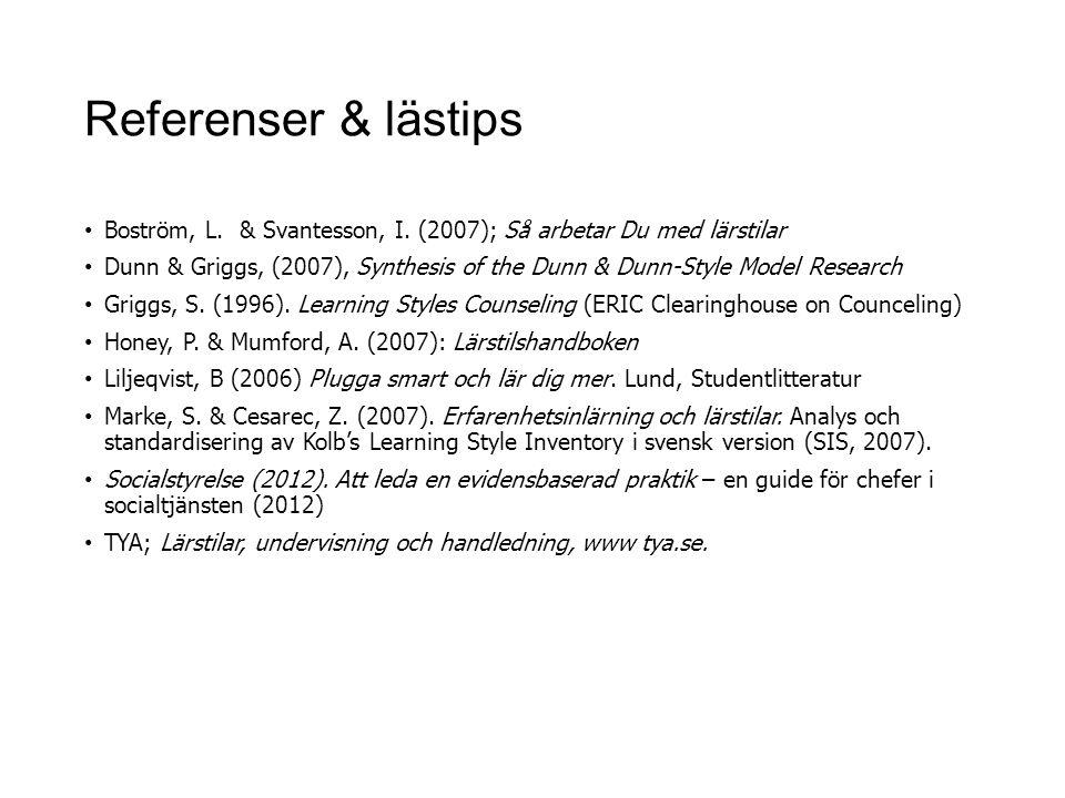 Referenser & lästips Boström, L. & Svantesson, I. (2007); Så arbetar Du med lärstilar.