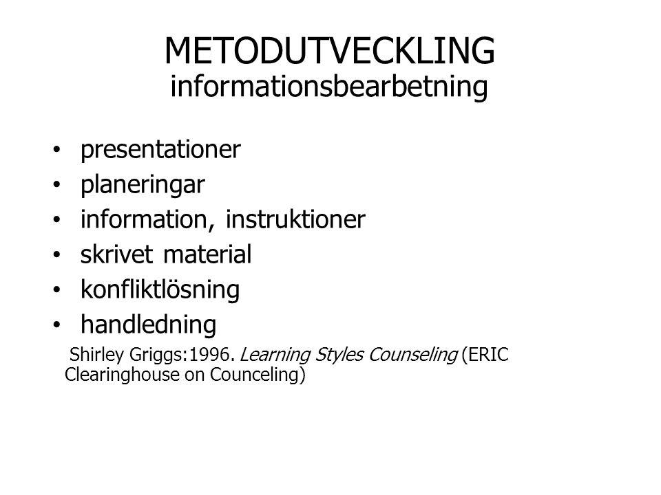 METODUTVECKLING informationsbearbetning