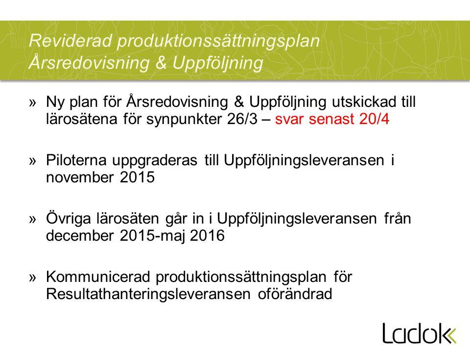 Reviderad produktionssättningsplan Årsredovisning & Uppföljning