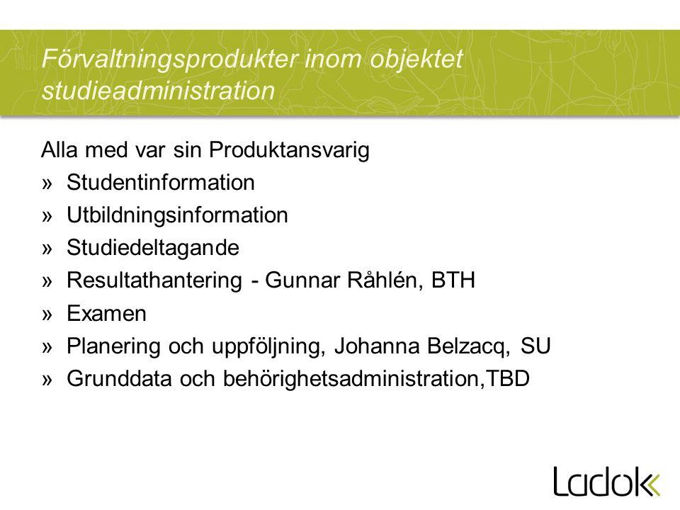 Förvaltningsprodukter inom objektet studieadministration