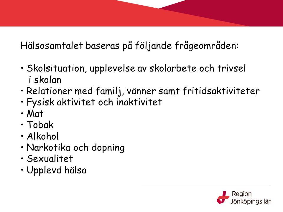 Hälsosamtalet baseras på följande frågeområden: