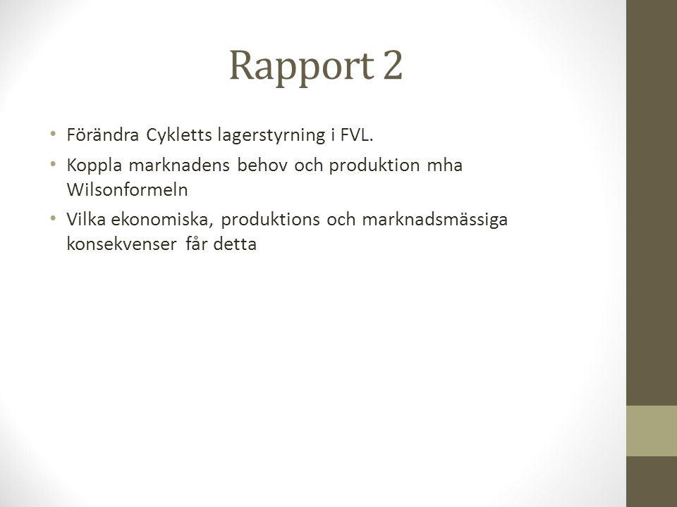 Rapport 2 Förändra Cykletts lagerstyrning i FVL.
