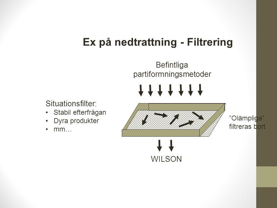 Ex på nedtrattning - Filtrering