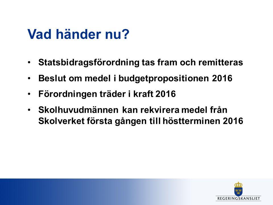 Vad händer nu Statsbidragsförordning tas fram och remitteras