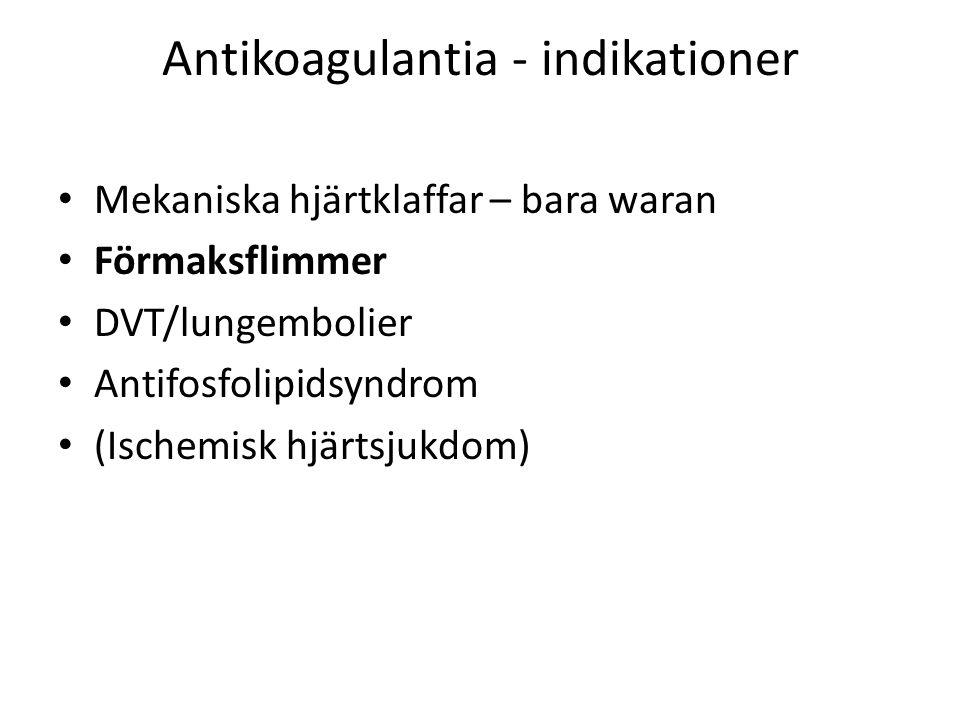 Antikoagulantia - indikationer