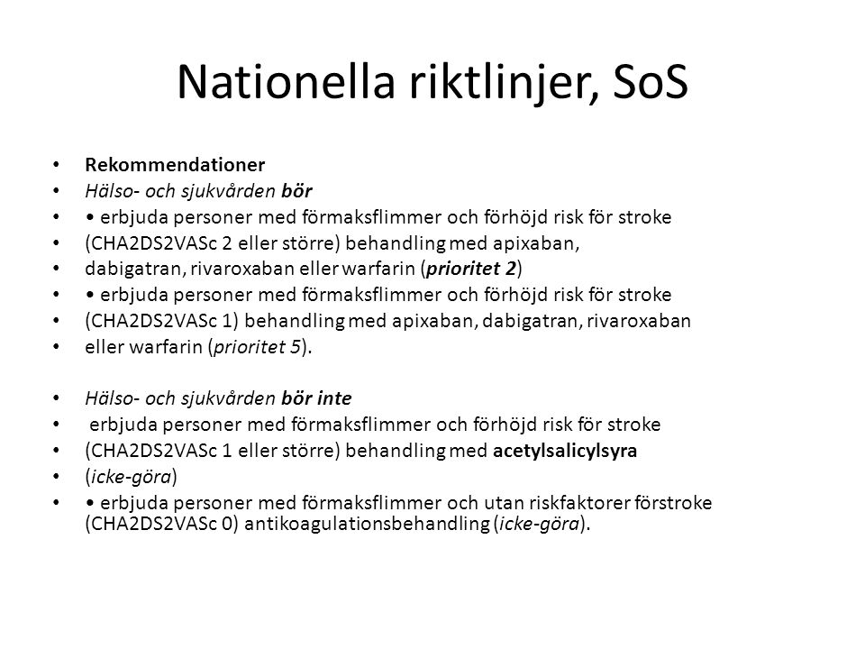Nationella riktlinjer, SoS