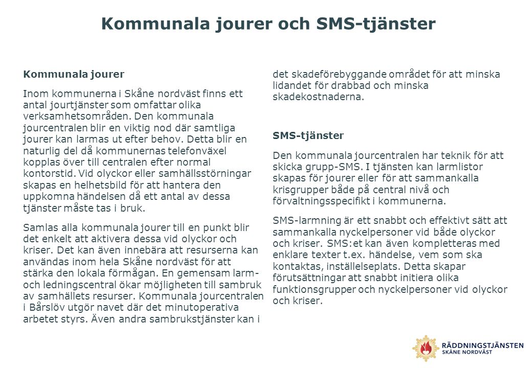 Kommunala jourer och SMS-tjänster
