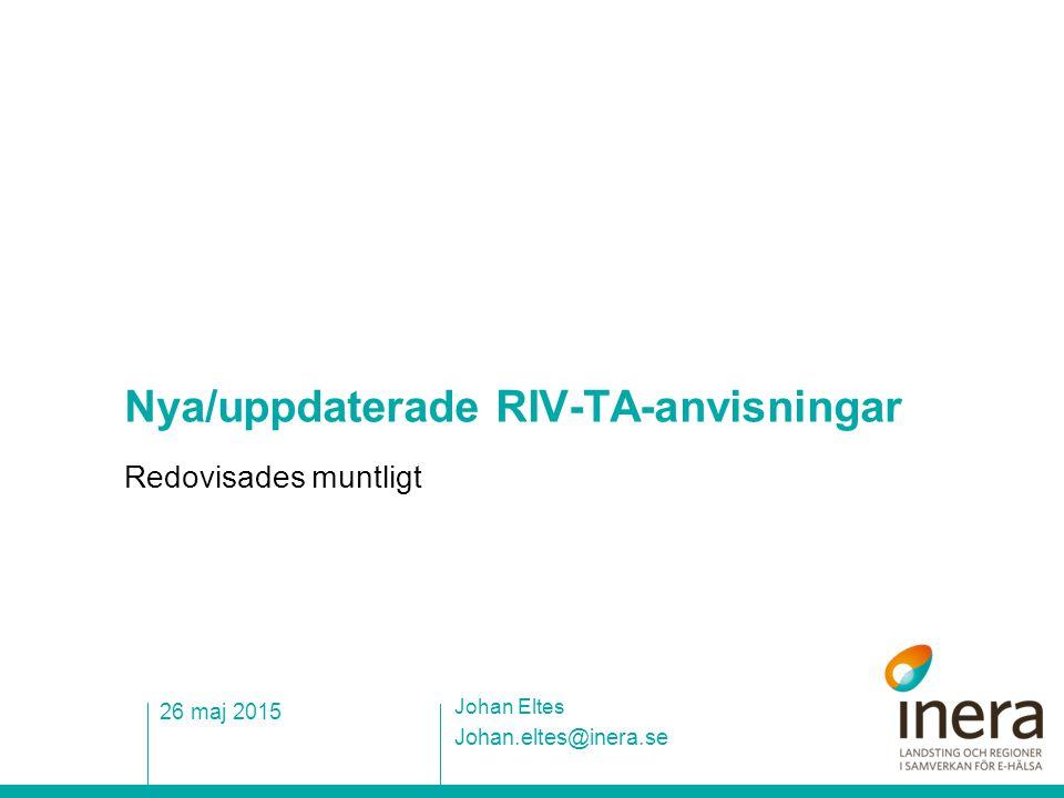 Nya/uppdaterade RIV-TA-anvisningar