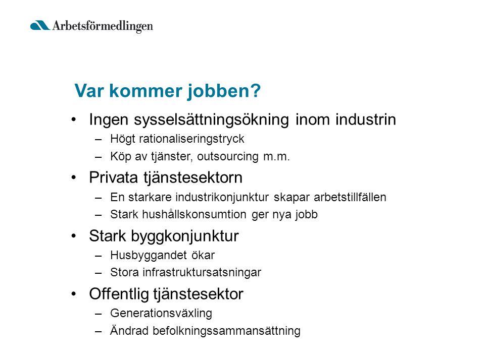 Var kommer jobben Ingen sysselsättningsökning inom industrin