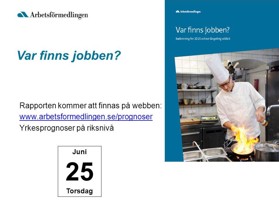 Var finns jobben Rapporten kommer att finnas på webben: www.arbetsformedlingen.se/prognoser Yrkesprognoser på riksnivå