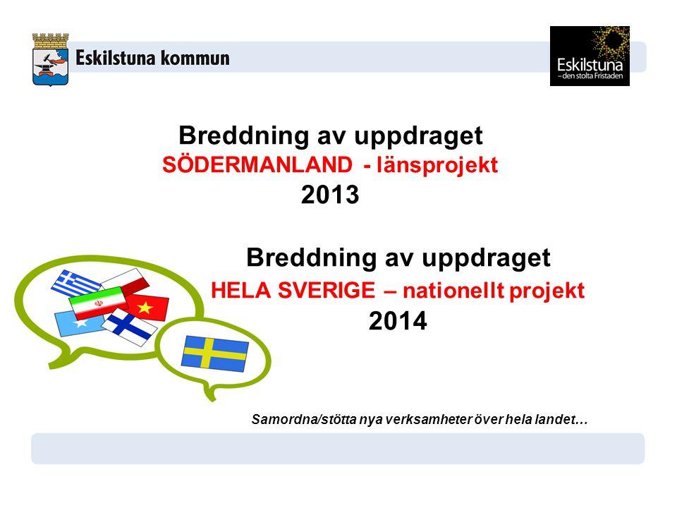 Breddning av uppdraget 2013 HELA SVERIGE – nationellt projekt 2014