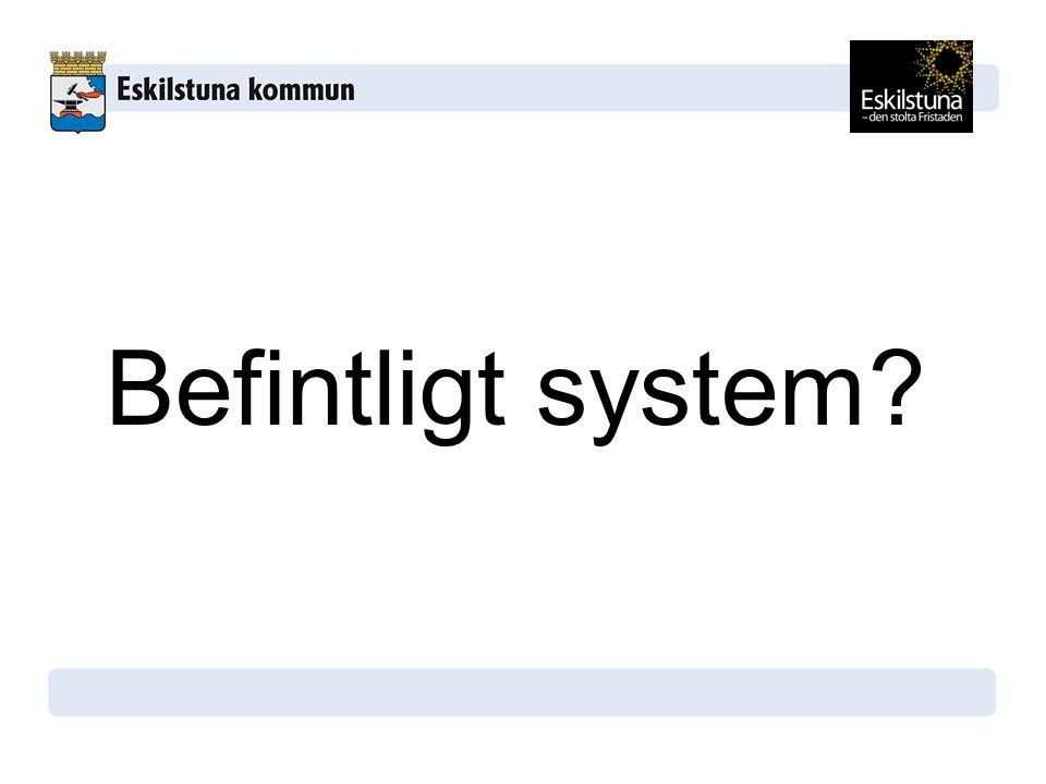 Befintligt system Exempel på hur systemet för integration ser ut i Sverige idag.