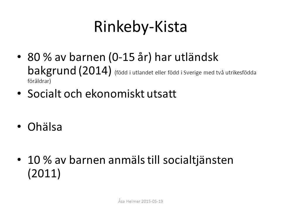 Rinkeby-Kista 80 % av barnen (0-15 år) har utländsk bakgrund (2014) (född i utlandet eller född i Sverige med två utrikesfödda föräldrar)