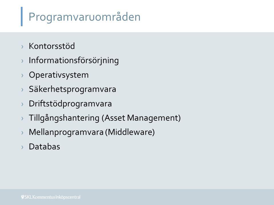 Programvaruområden Kontorsstöd Informationsförsörjning Operativsystem