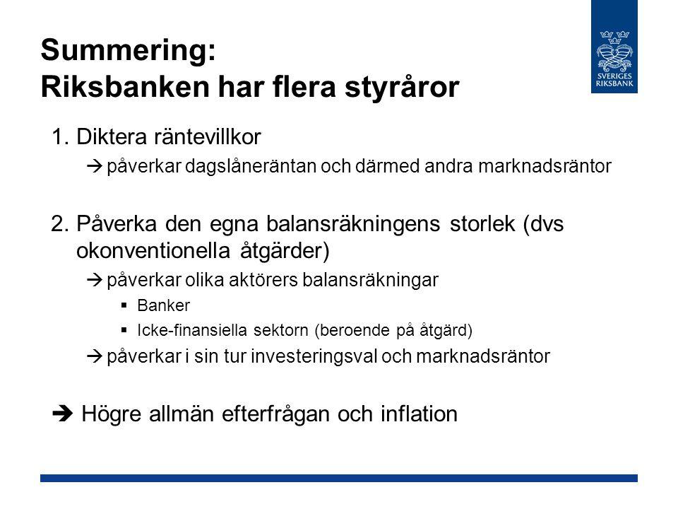 Summering: Riksbanken har flera styråror