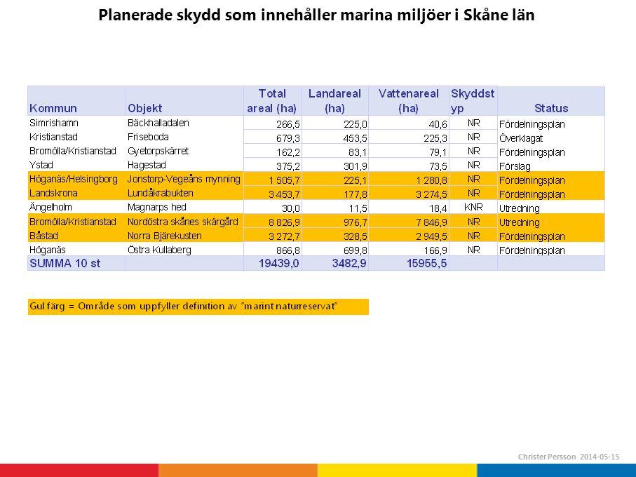 Planerade skydd som innehåller marina miljöer i Skåne län