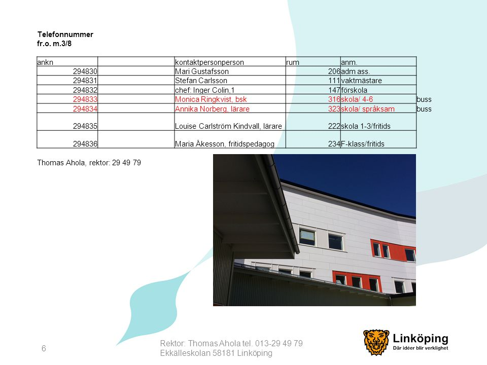 Rektor: Thomas Ahola tel. 013-29 49 79 Ekkälleskolan 58181 Linköping