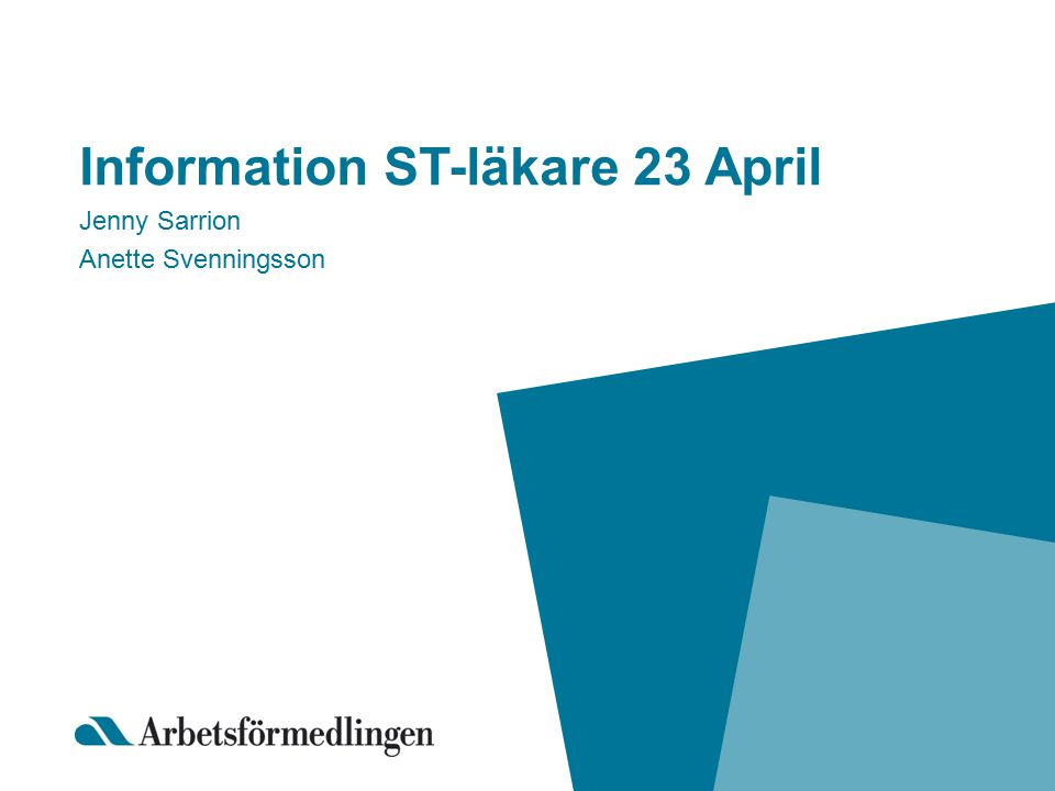 Information ST-läkare 23 April