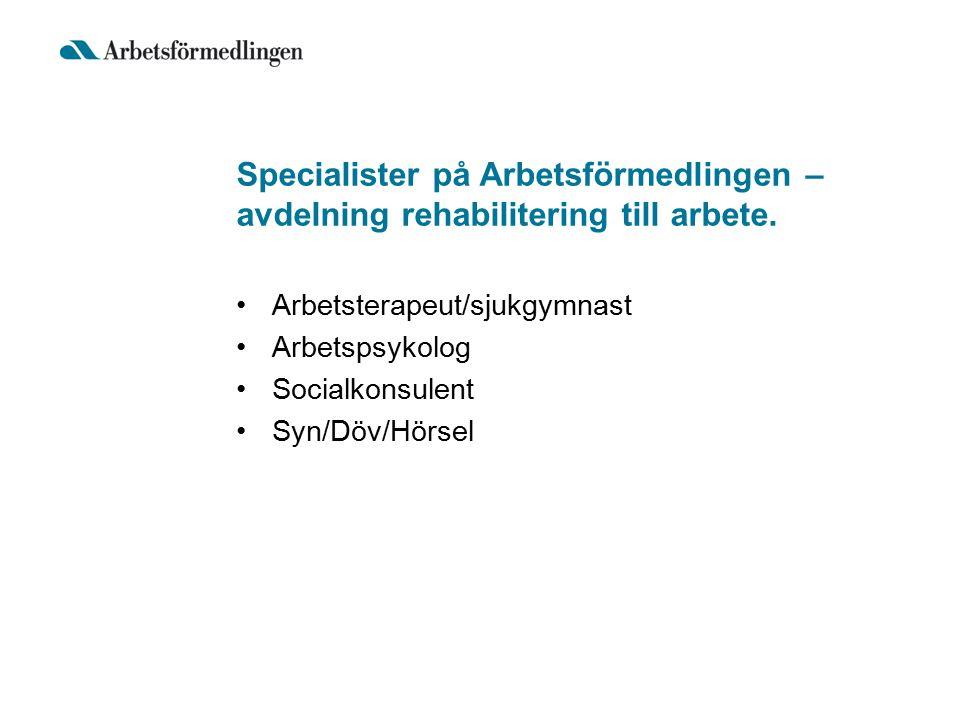 Specialister på Arbetsförmedlingen – avdelning rehabilitering till arbete.