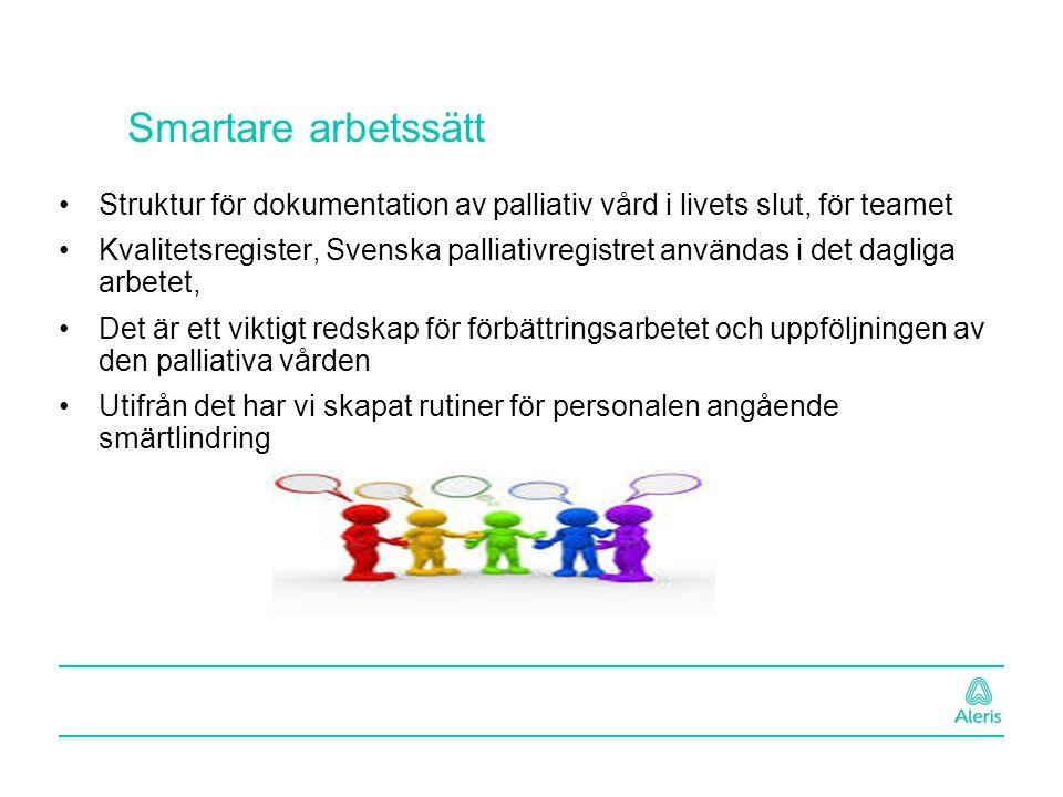 Smartare arbetssätt Struktur för dokumentation av palliativ vård i livets slut, för teamet.