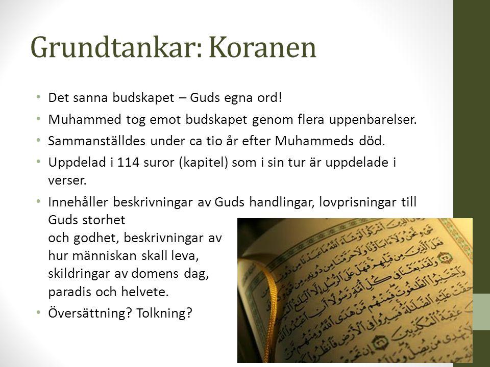 Grundtankar: Koranen Det sanna budskapet – Guds egna ord!