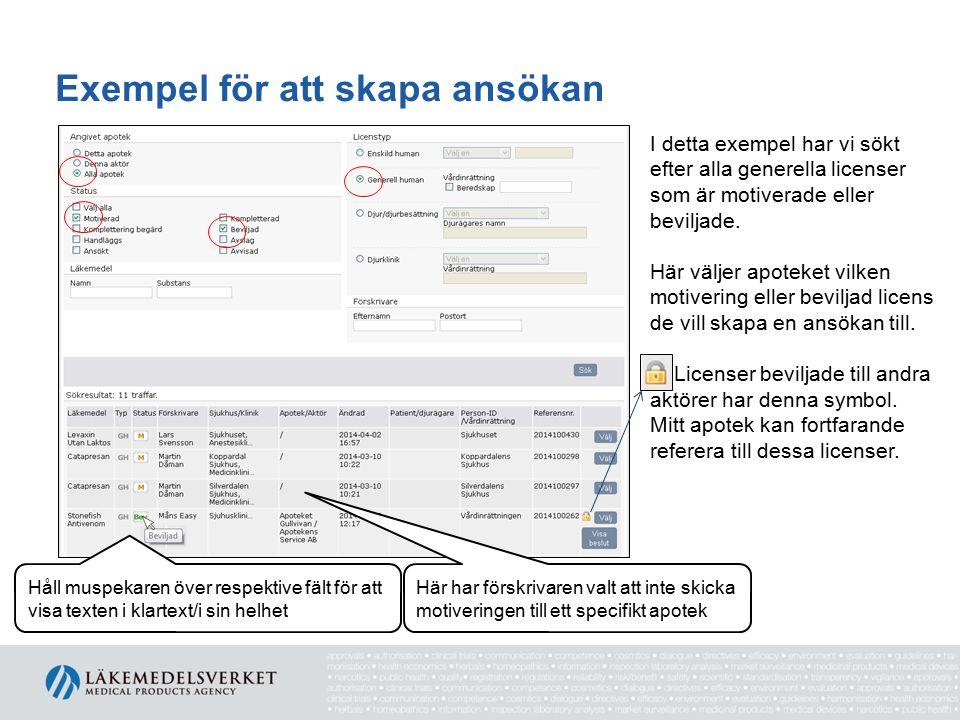 Exempel för att skapa ansökan