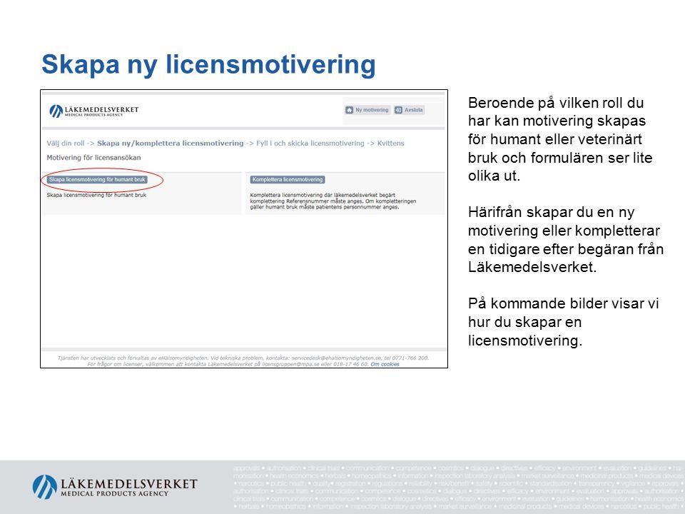 Skapa ny licensmotivering