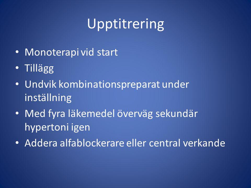 Upptitrering Monoterapi vid start Tillägg