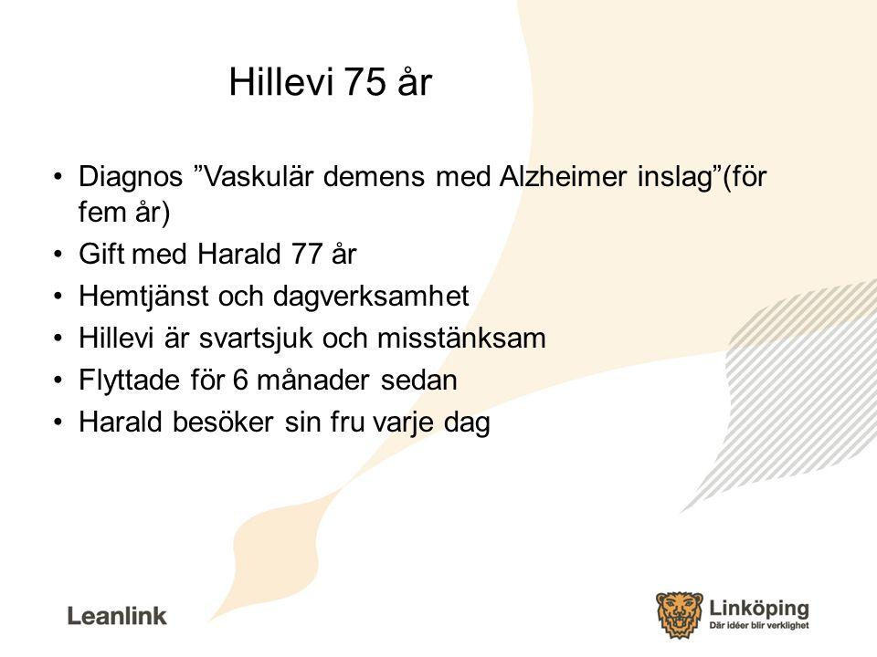 Hillevi 75 år Diagnos Vaskulär demens med Alzheimer inslag (för fem år) Gift med Harald 77 år. Hemtjänst och dagverksamhet.