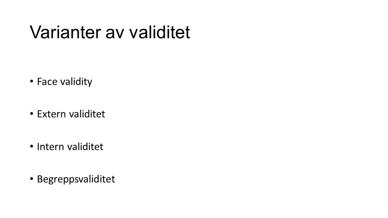 Varianter av validitet
