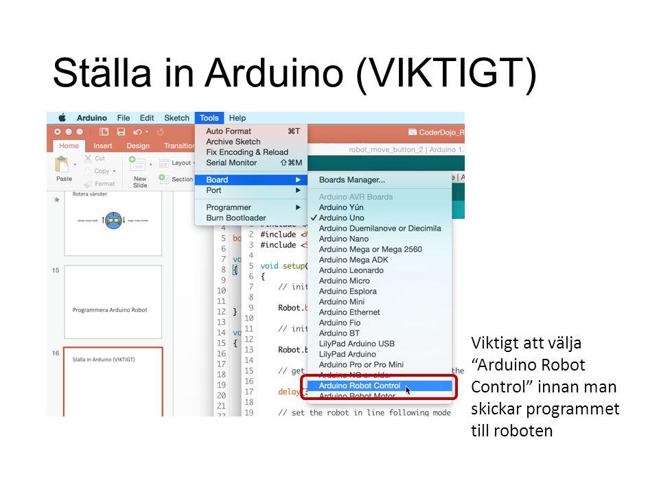 Ställa in Arduino (VIKTIGT)