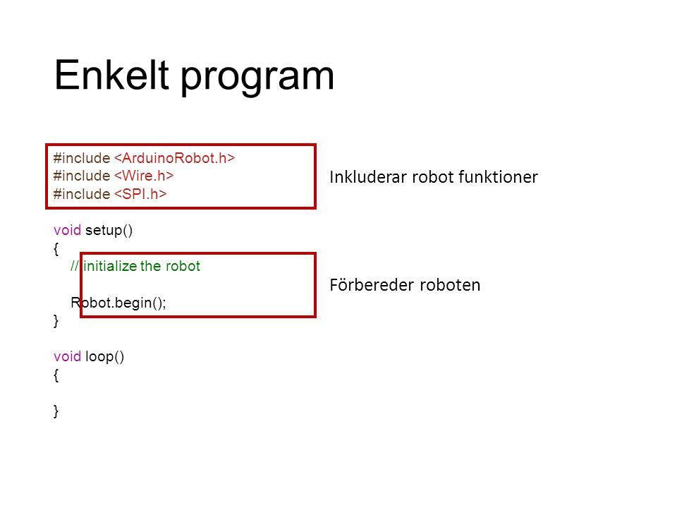 Enkelt program Inkluderar robot funktioner Förbereder roboten