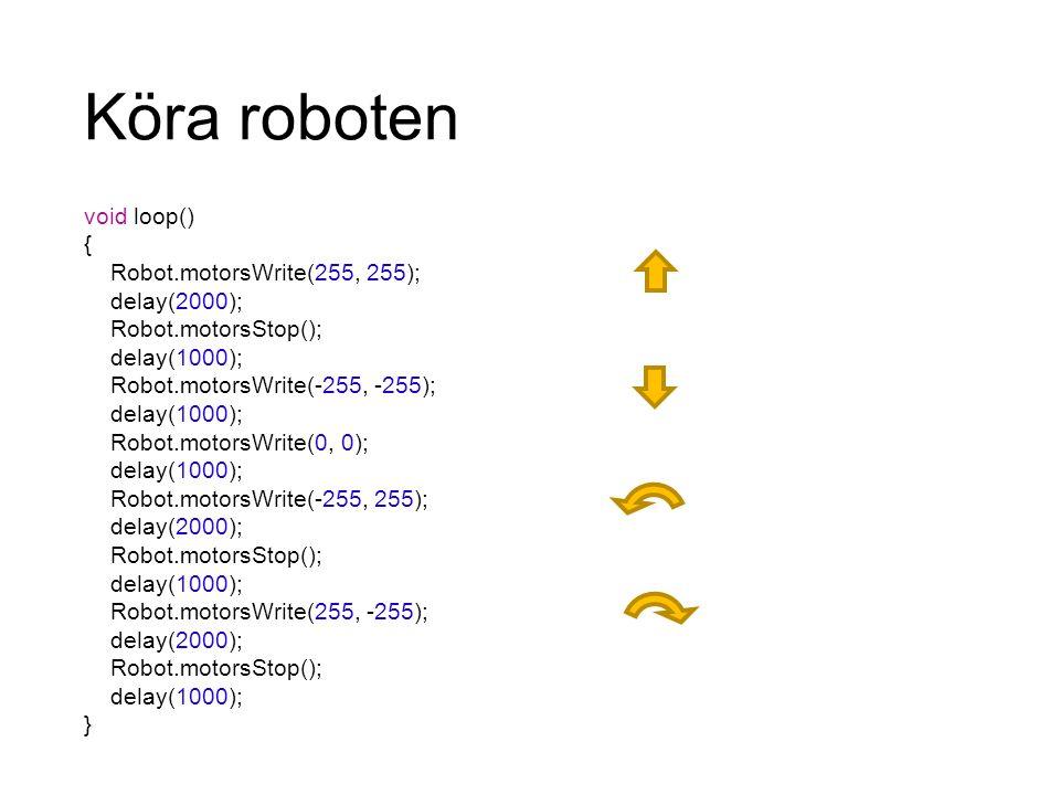 Köra roboten void loop() { Robot.motorsWrite(255, 255); delay(2000);